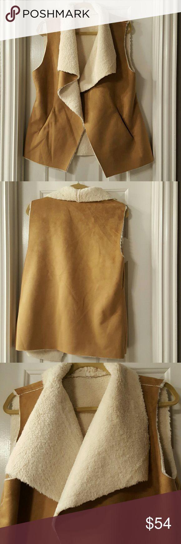 Suede vest Camel color vest, has pocket detail, 100% polyester. ONE SIZE. Fits like medium Jackets & Coats Vests