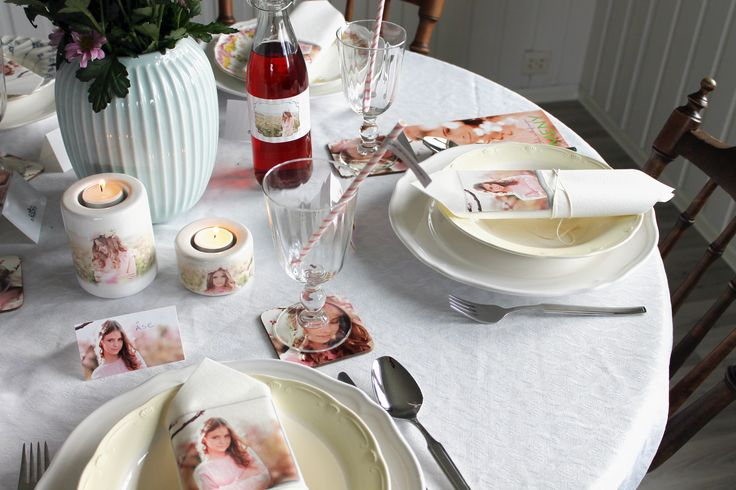 Personlig borddekorasjon til konfirmasjon