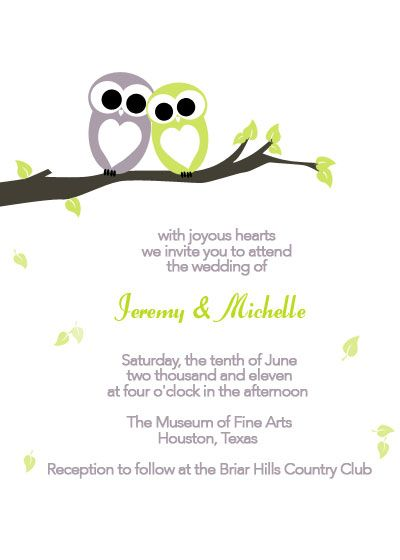 Gray and Green Owl Wedding Invitation -- the colors could be blue and purple ???