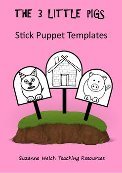 Stick Puppet Templates - colour and black and white.  The 3 little pigs.