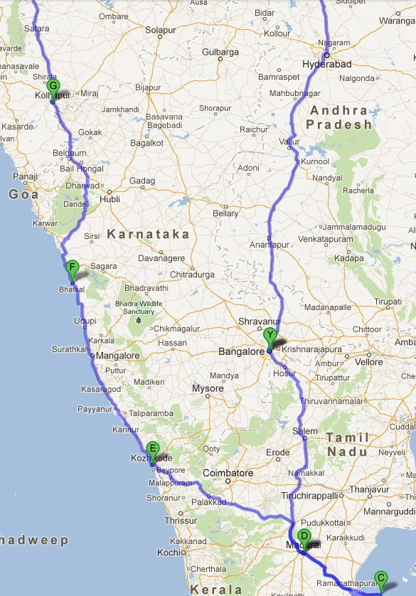 India Road Trip - Google Map - Southern India