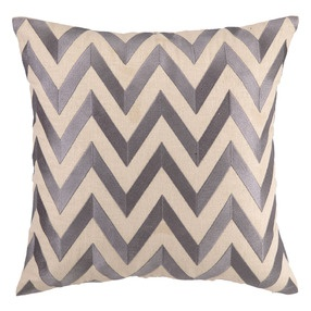 Zig Zag Gray Embroidered Pillow