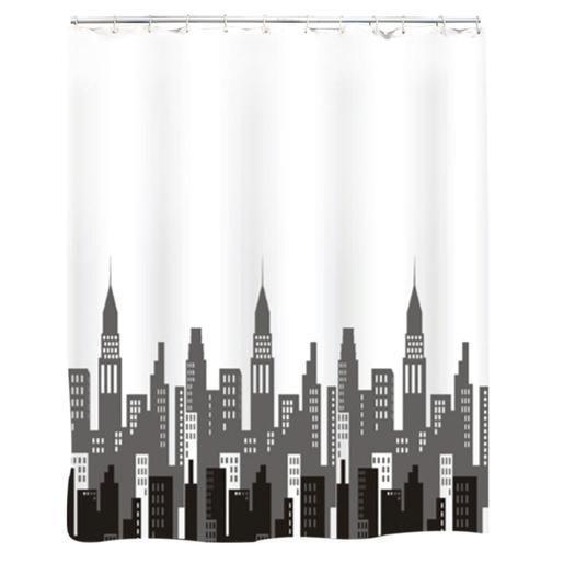 Rideau de douche City en polyester - 180 x 200 cm - Gris, noir, blanc