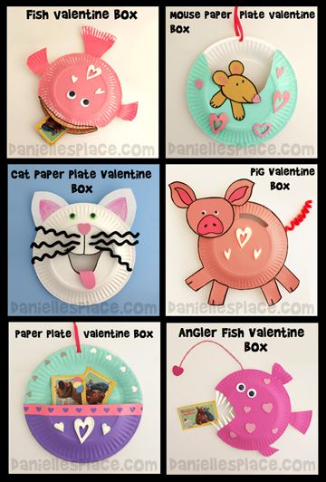 Paper Plate Valentine Boxes Crafts for Kids www.daniellesplace.com