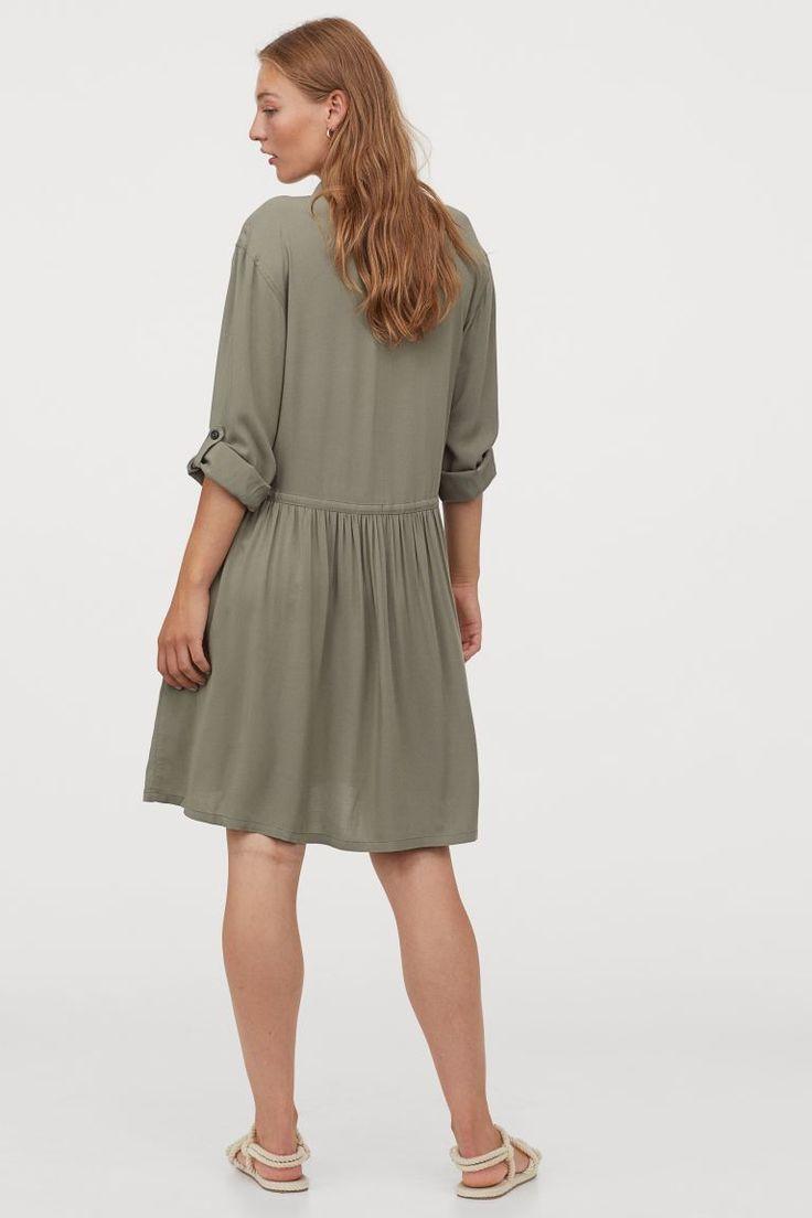 khakigruen ladies h m de blusenkleid modestil kleider h m