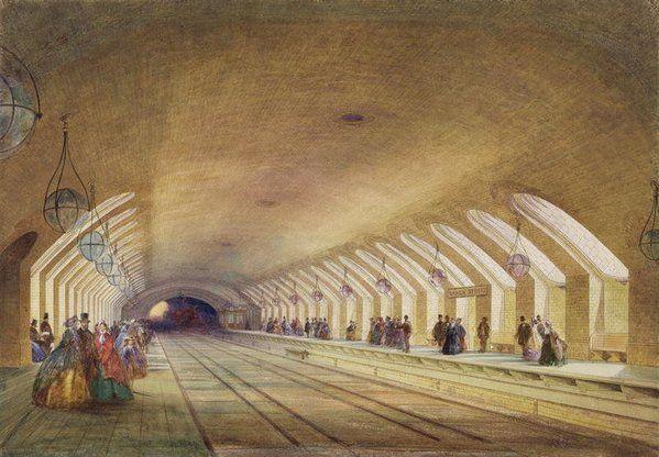 Baker Street, Metropolitan Railway, London by Samuel John Hodson, 1863 posted on Twitter by @DrLivGibbs