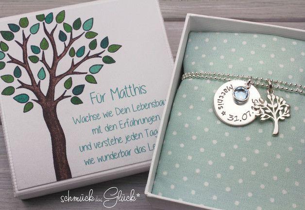 Namensketten - Taufkette Taufschmuck Lebensbaum Silber Gravur - ein Designerstück von schmueckdasGlueck bei DaWanda