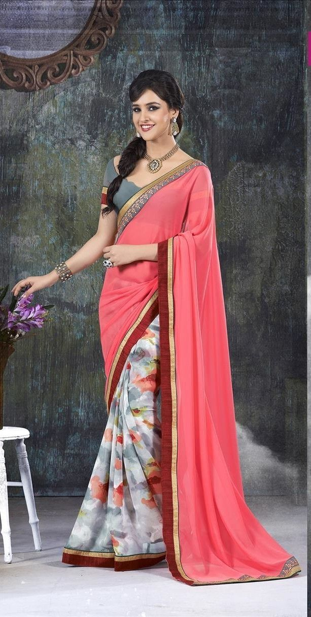 This simple yet elegant sari drapes perfectly highlighting the feminine form.