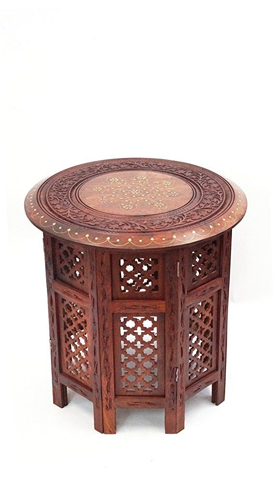 Cotton Craft Jaipur Solid Wood Handcrafted Carved Folding Accent Coffee Table Antique White 18 Inch Round Top X High Kitchen