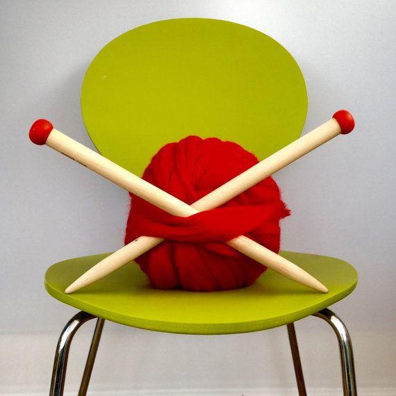 Giant Knitting Needles. Luxury 20mm US size 35 Wooden Knitting needles.  Extreme chunky knitting. Jumbo Giant knitting needles.  A064