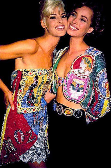 Linda & Christy backstage at Gianni Versace show