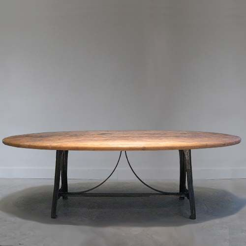 Industrial Curve Detailed Base Table With Oval Rustic Wood Top. Comfortably  Sit 6 8