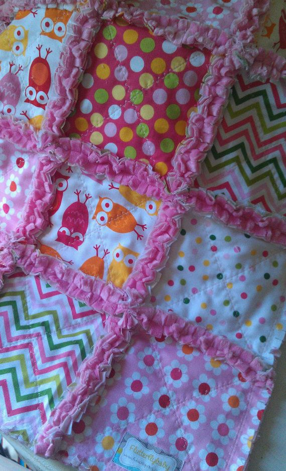 Rag Quilt Owl Pattern : Rag Quilt Baby Girl Owls Urban Zoologie Remix Minky Security Blanket Quilt, Colors and Rag quilt
