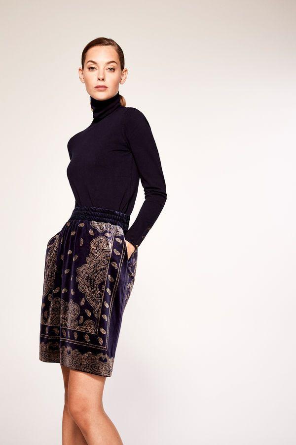 Cortefiel Velvet skirt Blue