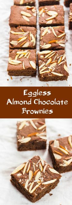 Eggless Almond Chocolate Brownies made with wholewheat flour and condensed milk. Easy to make recipe.