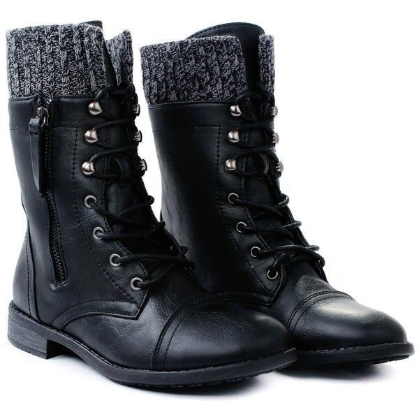 Women Justina58 Leatherette Sweater Cuff Lace Up Decorative Zipper Mid... ($21) ❤ liked on Polyvore featuring shoes, boots, sapatos, botas, military boots, laced boots, lacing combat boots, mid calf lace up boots and cuff combat boots