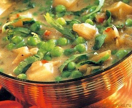 Веганские и вегетарианские рецепты / Индийский суп с зеленым горохом