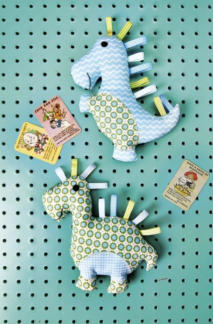 dino toys ~ choose colours for either boy or girl & your little one will have a cool friend ~ ribbons are added for baby to touch & feel ~ SEWING