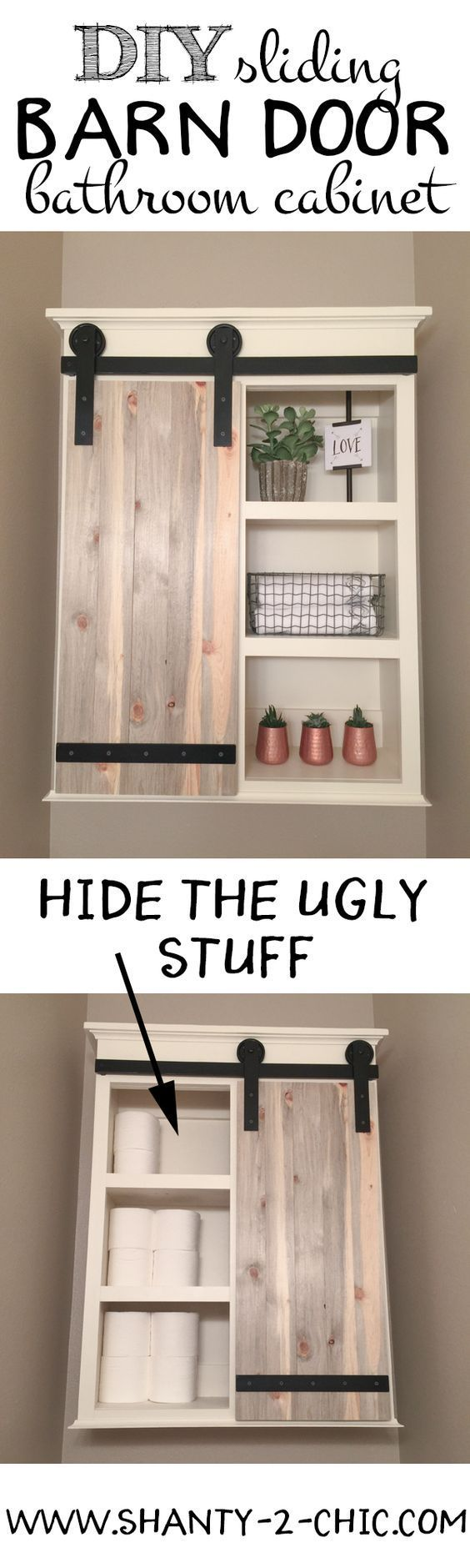 Build a custom Sliding Barn Door Storage Cabinet! Perfect for storage toilet paper and other items you don't want to be seen but also open shelving for decorating! Free plans at www.shanty-2-chic.com.