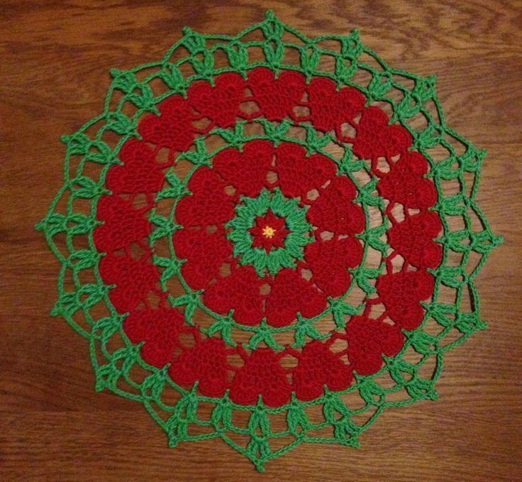 """Hej! Camilla """"Virkmillan"""" Lindberg här. Idag bjuder jag på ett mönster till en vacker duk som du kan virka till jul. Du kan göra den i julens färger , enfärgad eller i dina favoritfärger…"""