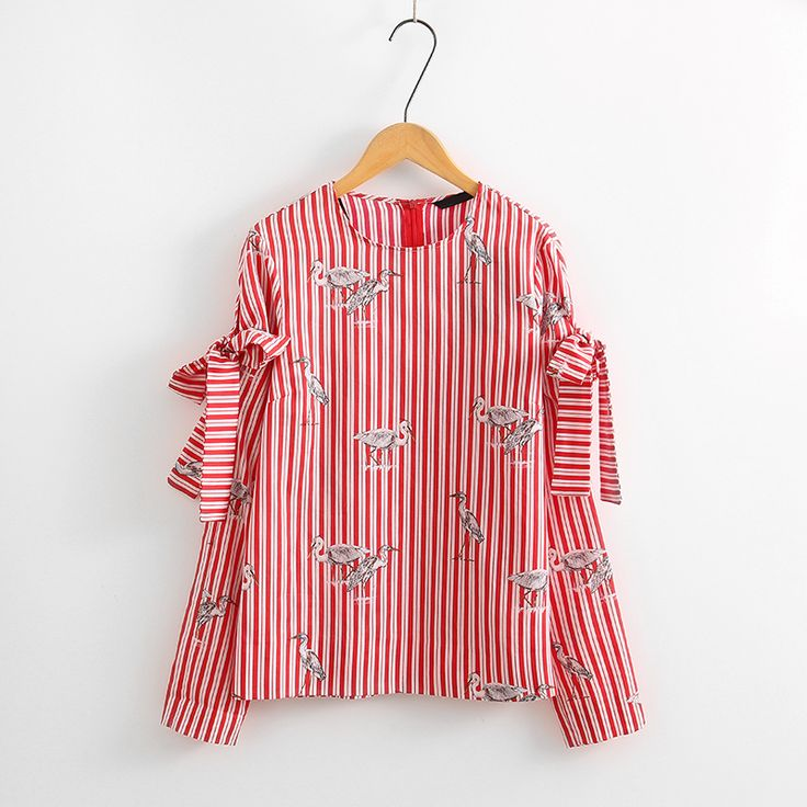 Women Clothing Red Striped Blouse Shirt Pullover Long Sleeve Bowknot Design O-neck Crane Pattern Print Shirts Tops Female Blusas