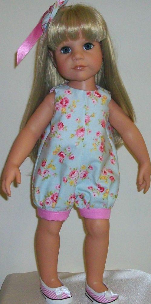 "Vintagebaby roses playsuit & hair bow 18-20"" dolls Gotz/Designafriend Hannah"