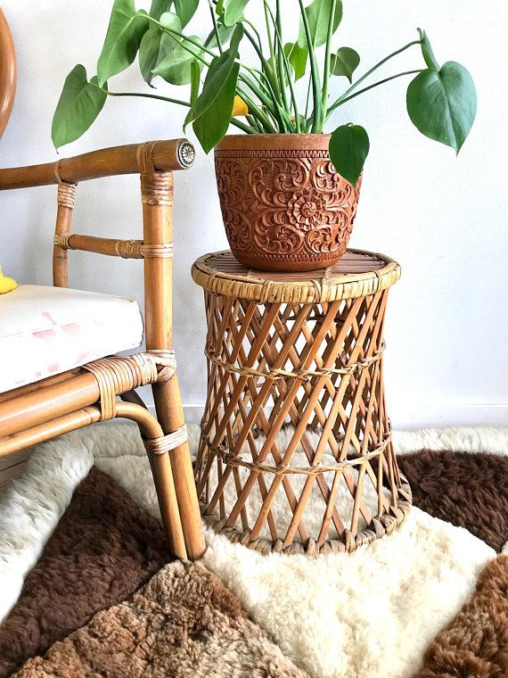 Bamboo Wicker Accent Table Round Woven Rattan Side Table Bamboo Plant Stand 70 S Wicker Plant Holder Boh Vintage Wicker Table Accent Table Wicker Table