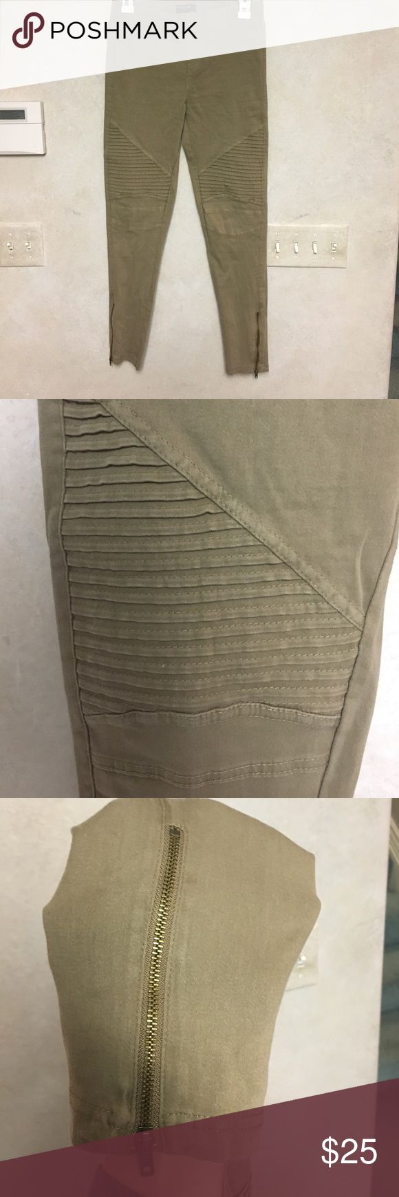 Moto leggings Moto style khaki leggings. With zipper detail and ribbed thigh/knee detail. Size large but fits more medium Jeans Ankle & Cropped