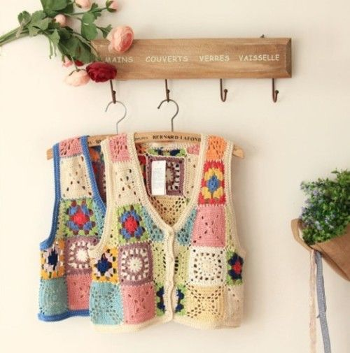 Crocheted vests like a crochet sampler ~ cute idea to use different stitch samples (just beware of MOTIF BOOBS...lol)