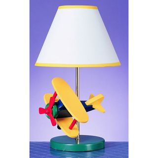 Overstock.com - Cal Lighting Airplane Childrens Table Lamp - This whimsical airplane table lamp for kids is the perfect bedside room accessory to tickle the imagination at all ages. This lamp is decorated with a three-dimensional soaring biplane in bright crayon colors and has a white shade with yellow-edge trim.
