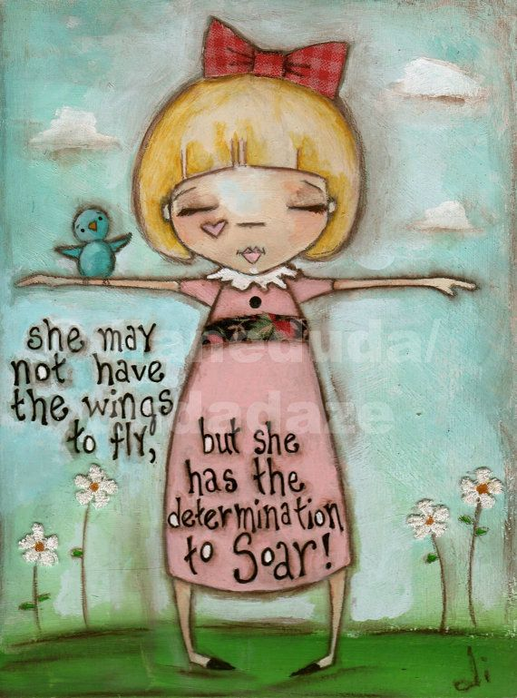 "Original Folk Art Motivational Painting on Wood ""Determined to Soar"" ©dianeduda/dudadaze"
