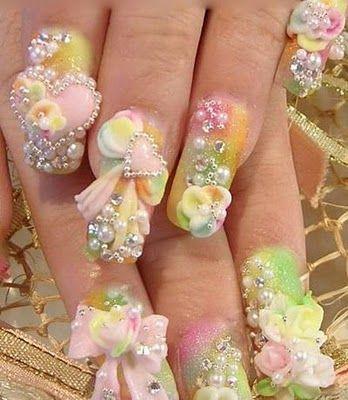 3D nail art: Bridal Nails, Nails Design, Nailart, Wedding Nails, Acrylics Art, Bows Nails, Flowers Nails, 3D Nails, Nails Art Design