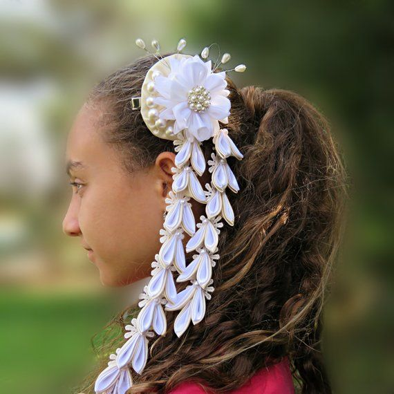Off-White wedding hair clip with falls, white