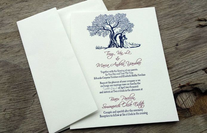 Letter press wedding invitation by Beechtree Creative.