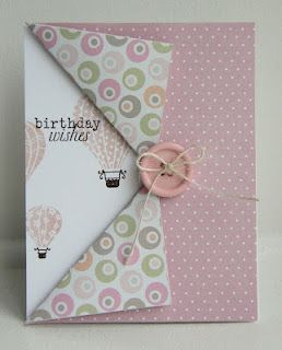 GREAT FOR DOUBLE-SIDED PAPER!: Hot Air Balloon, Cute Cards, Cards Ideas, Side Paper, Birthday Wish, Birthday Cards, Mondays 69, Folding Cards, Fun Folding