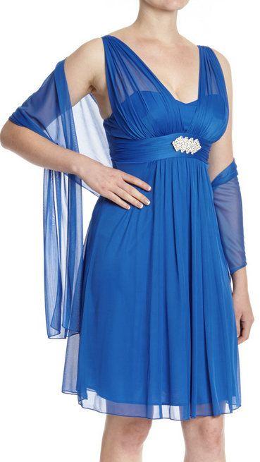 Royal Metallic-Accent Sweetheart Dress & Scarf