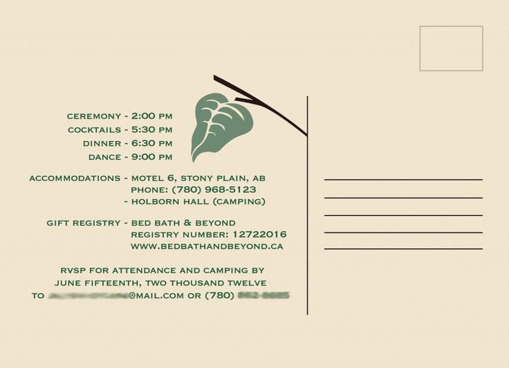 Post card wedding invitations by Amanda Wall.