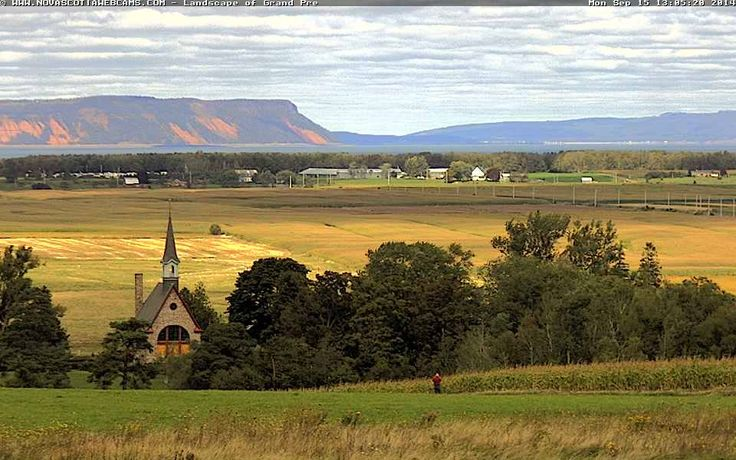 All of the colors in this view are simply breathtaking! Grand Pre, Nova Scotia - taken on September 15, 2014  http://www.novascotiawebcams.com/en/webcams/landscape-of-grand-pre/