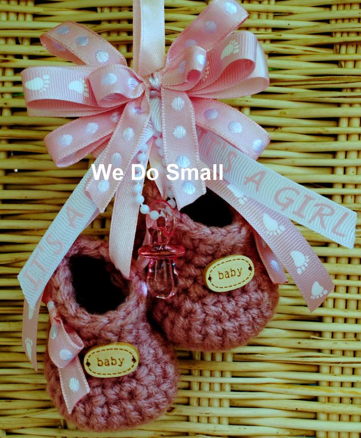 CROCHET KNITTED PRAM CHARM BOOTIES OR GIRL PINK