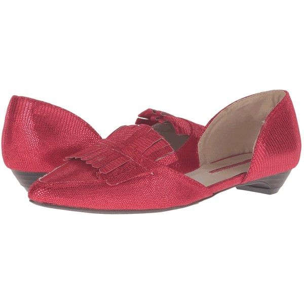C Label Hudson-33A (Red) Women's Dress Flat Shoes ($15) ❤ liked on Polyvore featuring shoes, red, leather upper shoes, red flats, slip-on shoes, decorating shoes and flat pumps