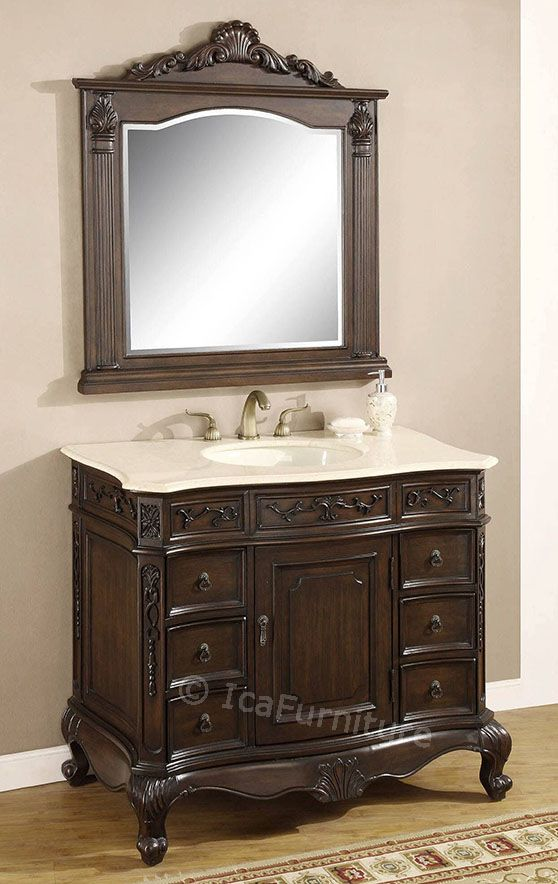 The Awesome Web  inch single vanity and mirror u Bathroom Cabinet