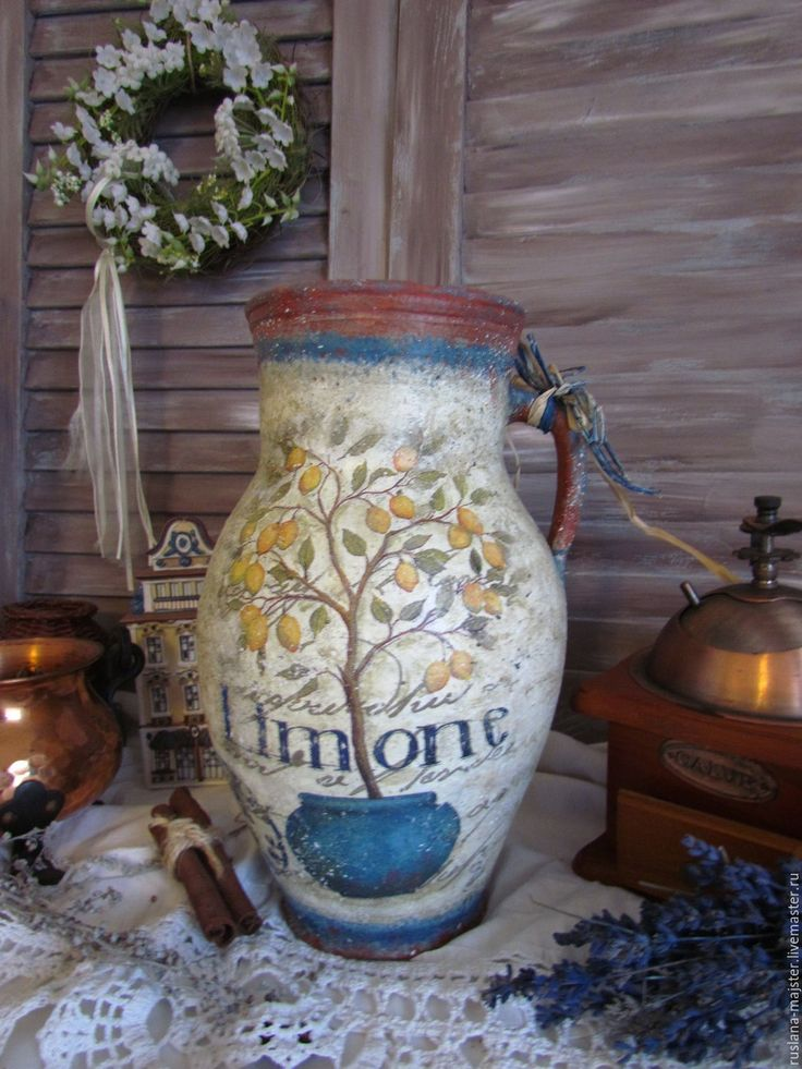 """Купить Старинный глечик """" Лимонное дерево"""" - глечик, под старину, старинный, состаренный, прованс"""