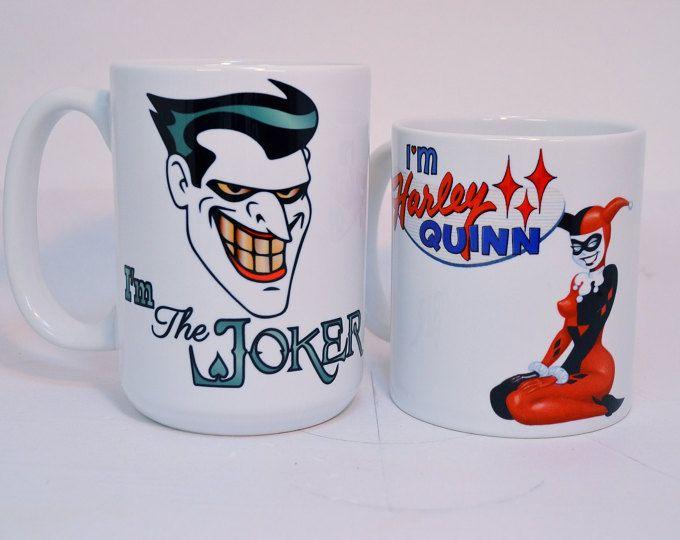 Joker y harley quinn, divertidas tazas, tazas de café divertidas, su y suyo, regalo novio, batman, taza divertida, regalos de novia, regalos de novio,