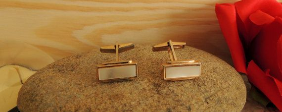 Vintage Cufflinks in Original Box Mother of Pearl Brass Cuff