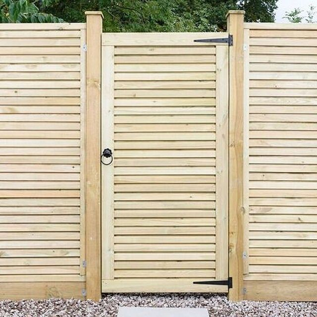 Security and style is embraced in this beautiful on edit style garden gate.  Can be hung on either side for flexibility. Supplied with an anti-rot guarantee. Its mortice and tenon structure makes it suitable for high traffic. Fine and smooth planed timber. Slatted on both sides for strength and good looks. Optional ironmongery set available. Optional matching Contemporary 6ft high fencing.