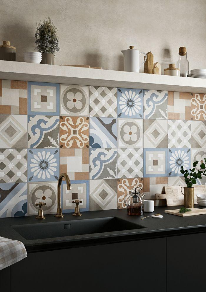retro fliesen mischung von retro mustern küchenrückwand - fliesen für küchenwand