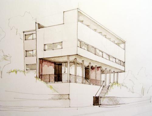 Weißenhofsiedlung: Zeichnung aus Süd-Ost-Pespektive eines Doppelhauses von Le Corbusier in der Weißenhofsiedlung Stuttgart. 1927
