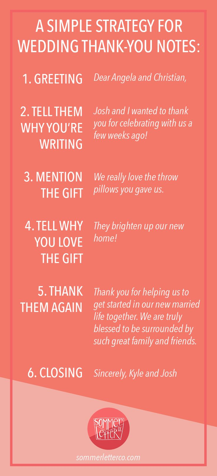What to say for wedding thank you notes | Sommer Letter Co.