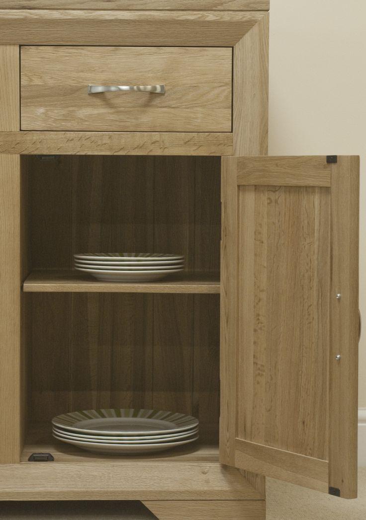 Bevel Solid Light Oak Range -  Large Sideboard - Oak Furniture Land -  www.oakfurnitureland.co.uk