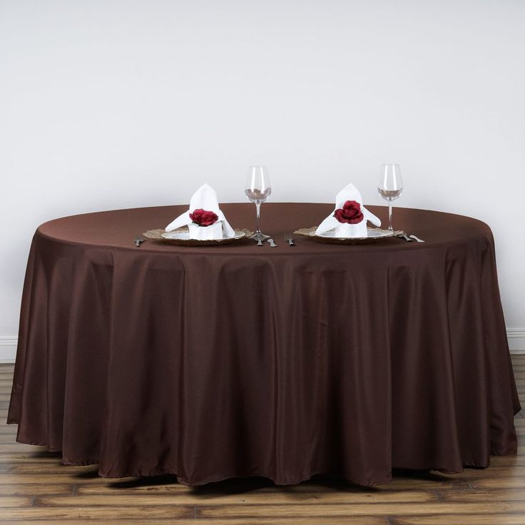 """120"""" CHOCOLATE Wholesale Polyester Round Tablecloth - Plan as many events as you want and invite as many guest as you desire without even worrying about the expenses and your budget. With our sturdy and economical polyester tablecloths, you can now transform any dining experience into a magnificent feast with an upscale feel and an elite look without breaking the banks. Get inspired by this premium quality polyester tablecloth that opens the gates of creativity and ingenuity. With such a…"""